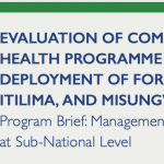 EVALUATION OF COMMUNITY BASED HEALTH PROGRAMME (CBHP) THROUGH DEPLOYMENT OF FORMAL CHWs IN CHEMBA, ITILIMA, AND MISUNGWI DISTRICT COUNCILS